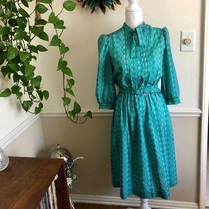 70s Vintage Leslie Fay Petites Office Dress
